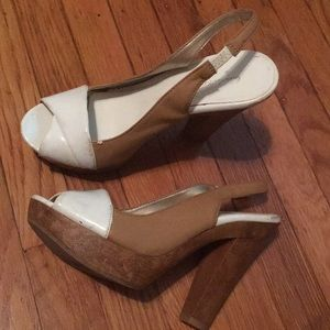 Tan and white thick heels from Charlotte Russe